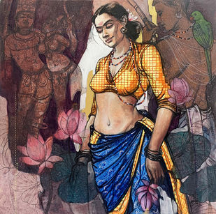 Beauty(Rati) by Ramchandra Kharatmal, Conceptual, Fantasy, Traditional Painting, Acrylic & Graphite on Canvas, Matterhorn color