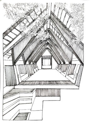 Dinning Hall At An Agro Tourism Center by Pooja Wadekar, Conceptual Painting, Pen & Ink on Paper, Tuatara color