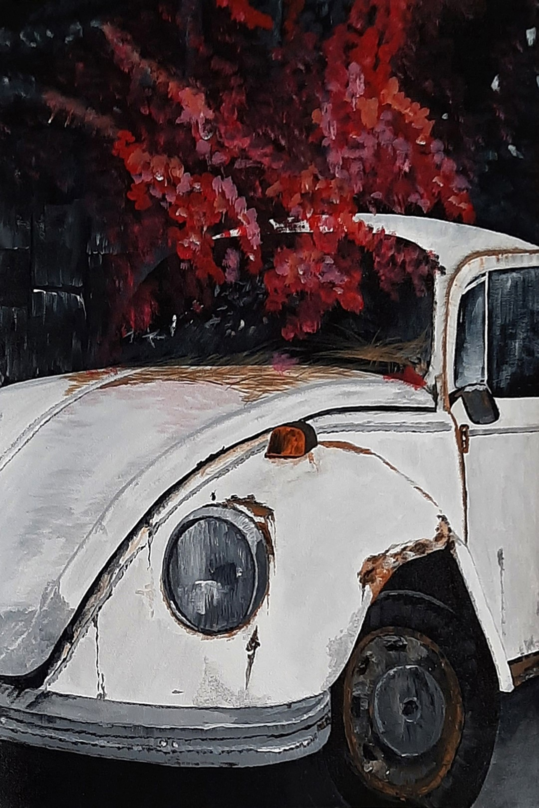 White Rusty Car Digital Print by Tejal Bhagat,Abstract, Conceptual