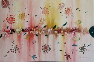 Abstract Acrylic flower painting by N S Jhanjheria, Decorative Painting, Acrylic on Canvas, Thatch color