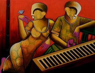 Rhythmic Reverberations Digital Print by anupam pal,Abstract, Folk