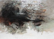 Holy Ganga by Sunil Kumar, Abstract Painting, Mixed Media on Canvas, Cotton Seed color