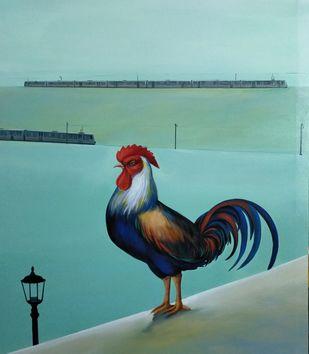 Urbanization by Goutam Sahoo, Conceptual, Fantasy Painting, Acrylic on Canvas, Gulf Stream color