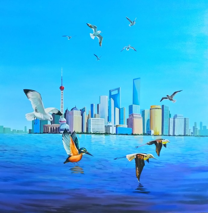 Real paradise II by Goutam Sahoo, Fantasy Painting, Acrylic on Canvas, Dodger Blue color