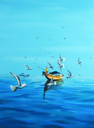 The real paradise I by Goutam Sahoo, Abstract Painting, Acrylic on Canvas, Malibu color