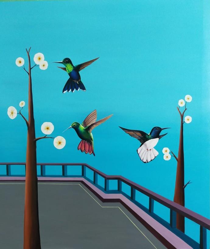 Hummingbird by Goutam Sahoo, Decorative, Fantasy Painting, Acrylic on Canvas, Scooter color