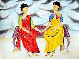 Kali-Kahlo : The Two Fridas by Bhaskar Chitrakar, Conceptual, Decorative Painting, Natural colours on paper, Tasman color