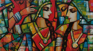 rhythimscape series by Anindya Mukherjee, Abstract, Decorative, Folk Painting, Acrylic on Canvas, Brown Rust color