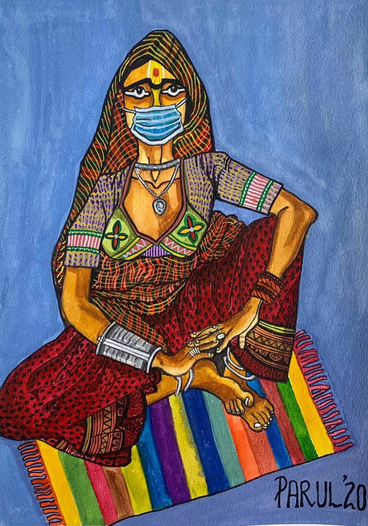 Year 2020 by Parul Aggarwal, Folk Painting, Watercolor and charcoal on paper, Ship Cove color