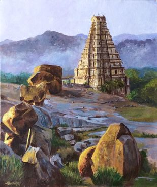 Temple by Surekha Kamath, Painting, Acrylic on Canvas, Fuscous Gray color