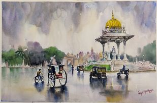 Rainy day in Mysore by Lasya Upadhyaya, Conceptual Painting, Watercolor on Paper, Tide color