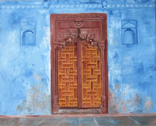 Doorway by Surekha Kamath, Decorative Painting, Oil on Canvas, Spicy Mix color