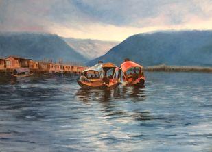 Dal lake by Surekha Kamath, Conceptual Painting, Oil on Canvas, Slate Gray color