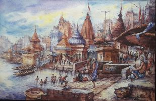 Beauty of Benaras ghats-4 by Shubhashis Mandal, Conceptual Painting, Watercolor on Paper, Dusty Gray color