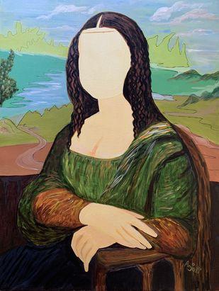 My Mona lisa by Anjali mittal, Conceptual Painting, Acrylic on Canvas, Akaroa color