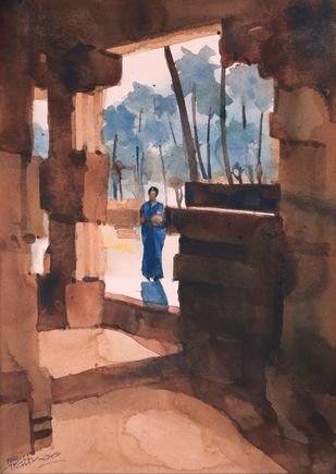 Let me be in your shadows by Prashant Prabhu, Painting, Watercolor on Paper, Petite Orchid color