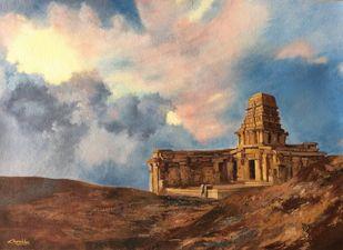 Temple by Surekha Kamath, Conceptual Painting, Oil on Canvas, Bison Hide color
