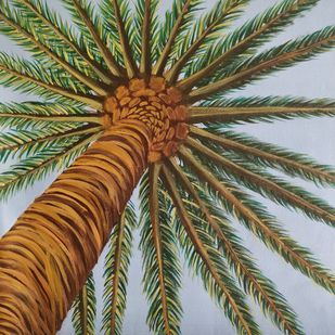 Palm Tree by Gitika Singh, Realism Painting, Acrylic on Canvas, Tobacco Brown color