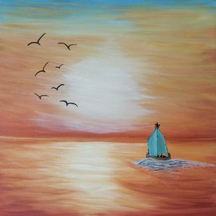 Sunset by the beach by Gitika Singh, Illustration Painting, Acrylic on Canvas, Sandal color
