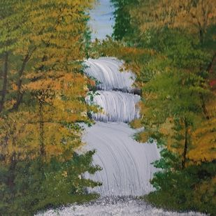 Waterfall painting by Gitika Singh, Illustration Painting, Acrylic on Canvas, Costa Del Sol color