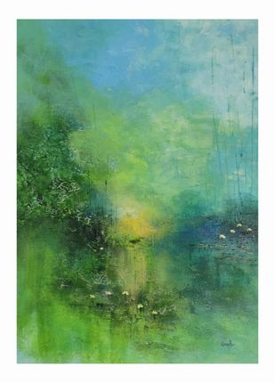 Serenity by Kayalvizhi Sethukarasu, Abstract Painting, Acrylic on Canvas, Viridian Green color