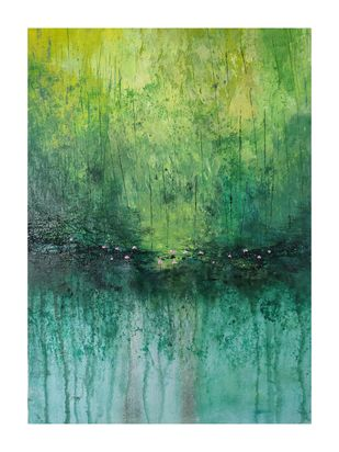 Enchantment of lotus by Kayalvizhi Sethukarasu, Abstract Painting, Acrylic on Canvas, Highland color
