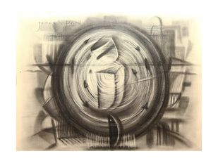 Untitled by Jitesh patil, Abstract Drawing, Charcoal on Paper, Coral Reef color