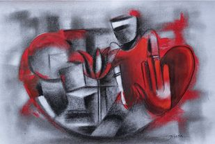 Untitled by Jitesh patil, Abstract Painting, Charcoal on Paper, Cadet Blue color