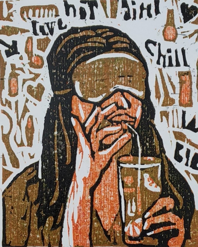 beauty time by shalini, Abstract, Expressionism Printmaking, Wood Cut on Paper, Eerie Black color