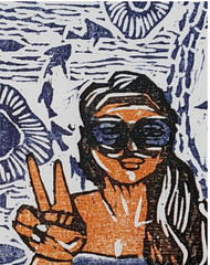 in fun by shalini sandeep kumar, Abstract, Expressionism, Fantasy Printmaking, Wood Cut on Paper, Alto color