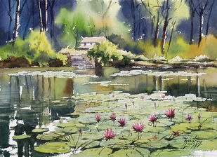 Lilly Pond by Sunil Linus De, Realism Painting, Watercolor on Paper, Gurkha color