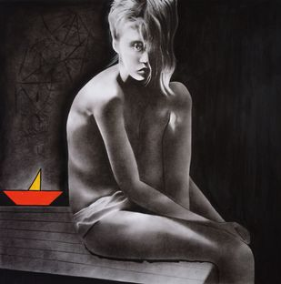 Untitled by Jitesh patil, Expressionism Drawing, Charcoal on Paper, Eerie Black color