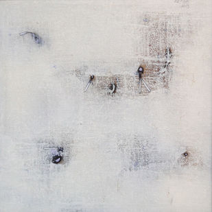 untitled 1264 by Arvind V Patel, Abstract, Minimalism Painting, Acrylic on Canvas, Silver color