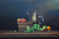 still life by Gagan kumar Mohanta, Realism Painting, Acrylic on Canvas, Bright Gray color