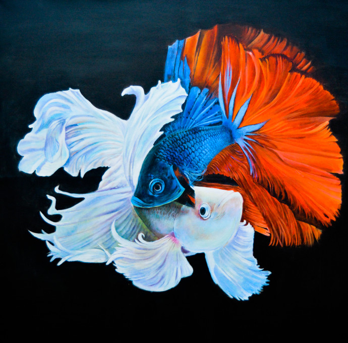 fighter fish by Gagan kumar Mohanta, Illustration Painting, Acrylic on Canvas, Loblolly color
