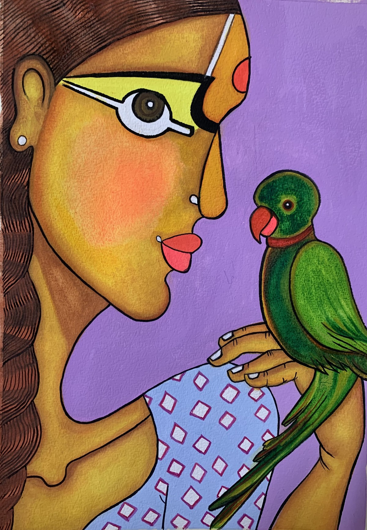 Girl with parrot by Parul Aggarwal, Decorative Painting, Gouache on Paper, Green Kelp color