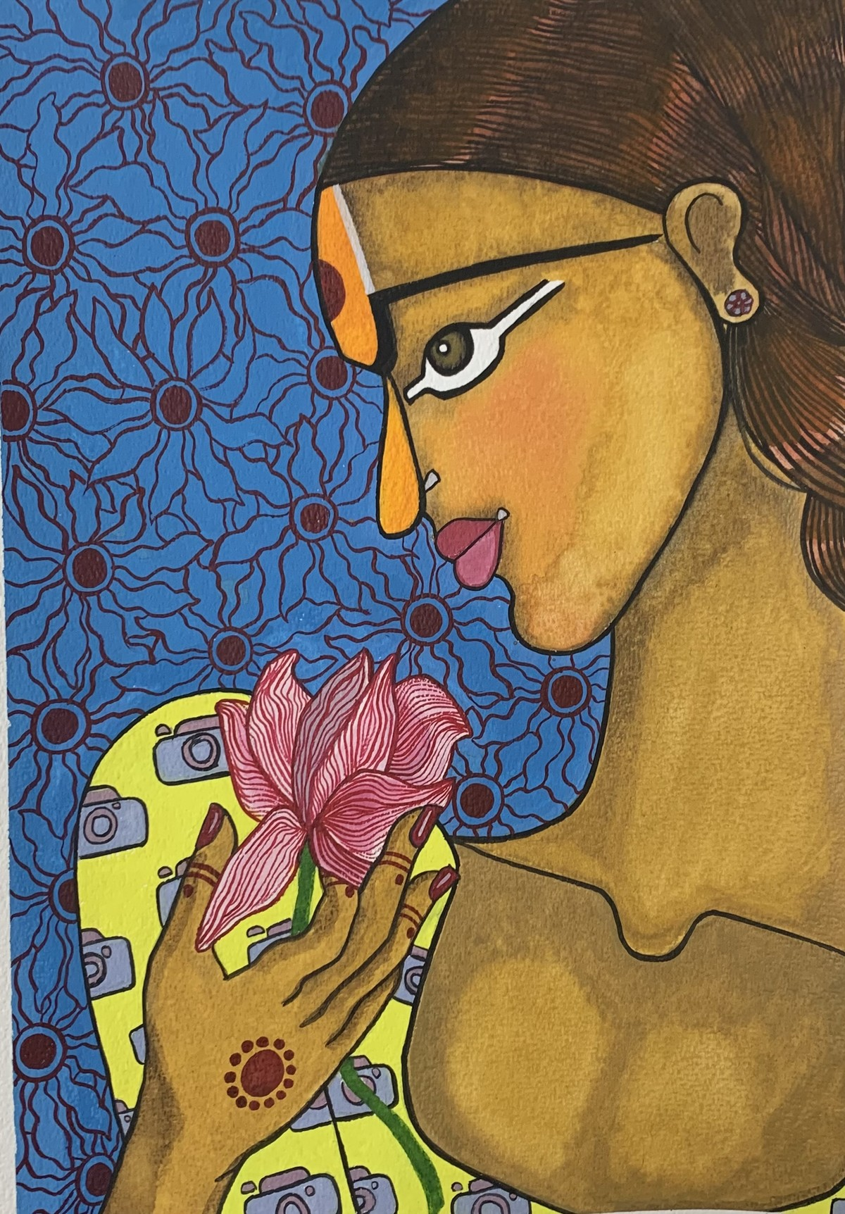 Girl with flower by Parul Aggarwal, Decorative Painting, Watercolor on Paper, Sundance color
