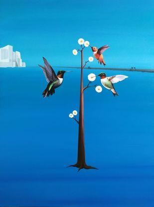 Hummingbird V by Goutam Sahoo, Conceptual, Decorative, Fantasy Painting, Acrylic on Canvas, Blue Green color