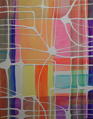 Colorful Memory#4 by Lindsey Nobel, Abstract Painting, Acrylic on Canvas, Toast color