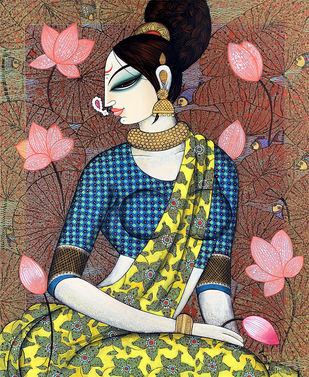 Beauty with lotus by Varsha Kharatmal, Decorative, Folk Painting, Acrylic & Graphite on Canvas, Domino color