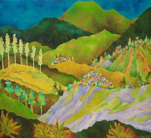Lavender and lemongrass fields by Chaitali Chatterjee, Abstract Painting, Oil on Canvas, Wasabi color