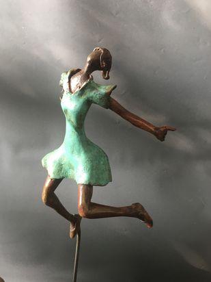 Jumping by Shanta Samant, Art Deco Sculpture | 3D, Bronze, Chicago color