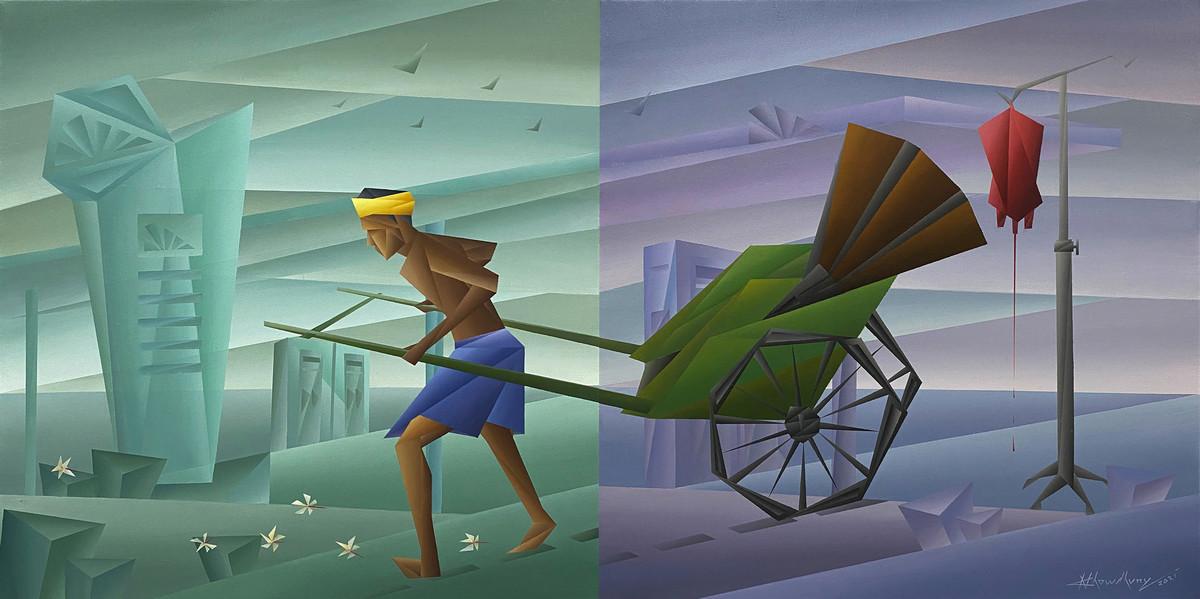 Fuel by Nirakar Chowdhury, Conceptual, Cubism Painting, Acrylic on Canvas, Juniper color