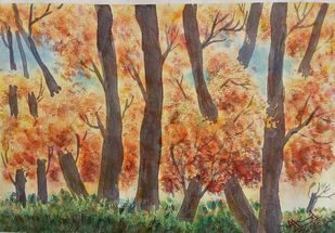 Autumn Colors by Ajay Anand, Impressionism Painting, Watercolor on Paper, Dirt color