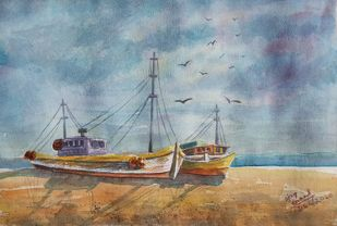 Boats on the beach by Ajay Anand, Impressionism Painting, Watercolor on Paper, Bali Hai color