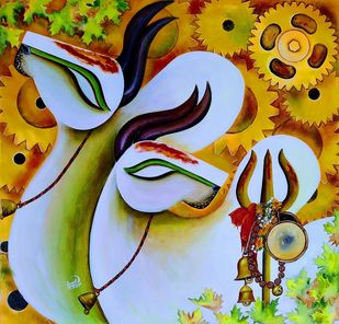 RISHABHNATH (p-4) by SUSMITA MANDAL, Abstract, Conceptual Painting, Acrylic on Canvas, Oil color