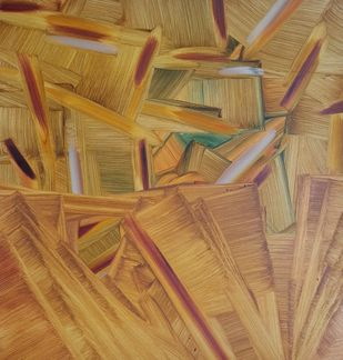 Vipasyana Series 1 by Amit Kalla, Abstract, Art Deco, Geometrical Painting, Mixed Media on Paper, Driftwood color