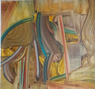 Vipasyana Series 3 by Amit Kalla, Abstract, Art Deco Painting, Mixed Media on Paper, Leather color