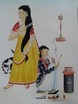Babu Bibi in the kitchen by Bhaskar Chitrakar, Conceptual Painting, Natural colours on paper, Edward color