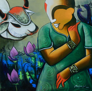 Conversation 41 by anupam pal, Conceptual Painting, Acrylic on Canvas, Mongoose color